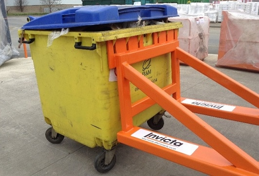 stack lifter attachment with wheelie bin